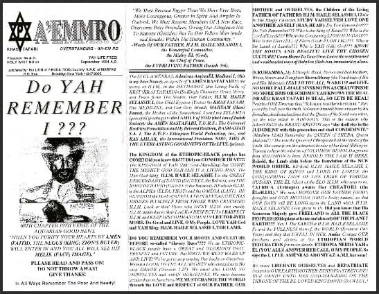 A'EMMRO | Rastafari Study Tracts #24 | Do YAH REMEMBER I???