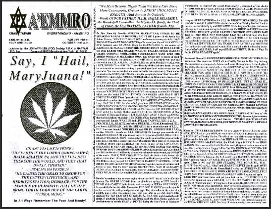 "A'EMMRO | Rastafari Study Tracts #25 | Say, I ""Hail MaryJuana!"""