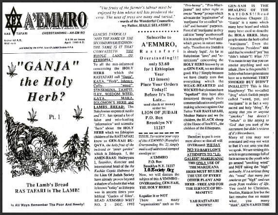 "A'EMMRO | Rastafari Study Tracts #6 | ""GANJA"" the Holy Herb?"