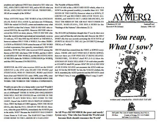 A'EMMRO | Rastafari Study Tracts #30 | You reap, What U sow!