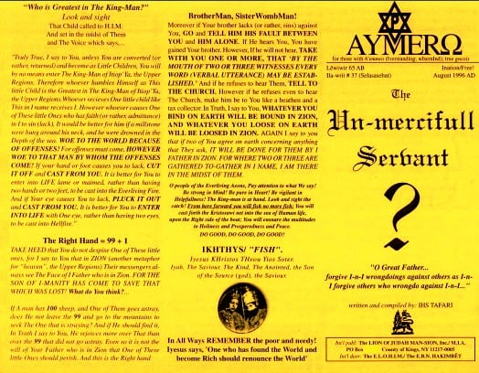 AYMERO | Rastafari Study Tracts #37 | The Un-mercifull Servant?
