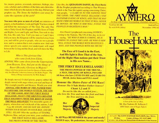 AYMERO | Rastafari Study Tracts #40 | The House Holder