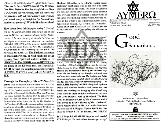 AYMERO | Rastafari Study Tracts #46 | Good Samaritan...