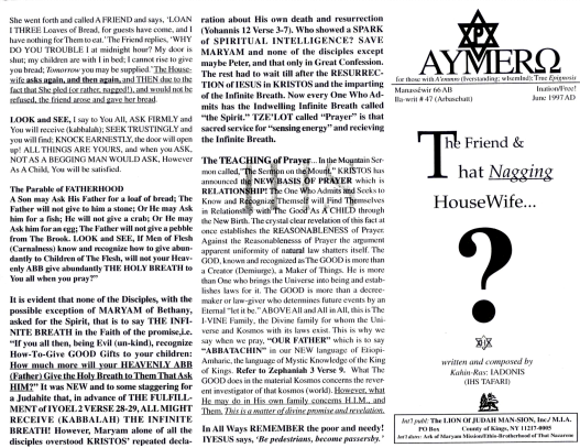 AYMERO | Rastafari Study Tracts #47 | The Friend & That Nagging HouseWife...
