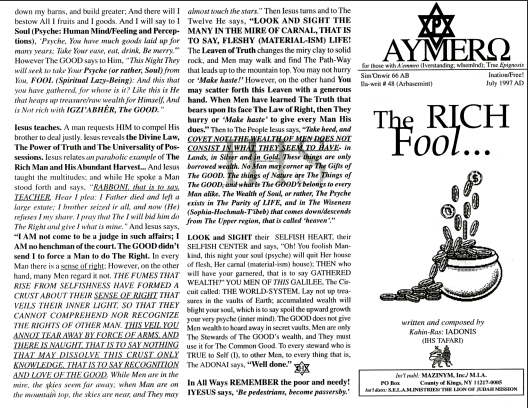AYMERO | Rastafari Study Tracts #48 | The RICH Fool...