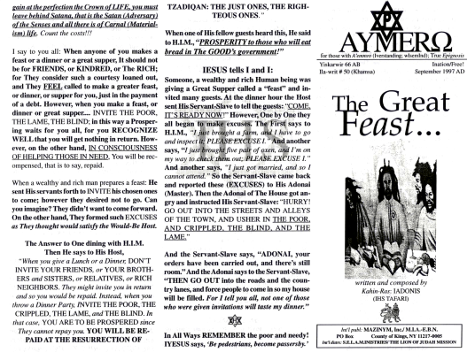 AYMERO | Rastafari Study Tracts #50 | The Great Feast...