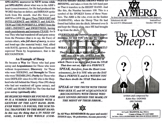AYMERO | Rastafari Study Tracts #51 | The LOST Sheep...