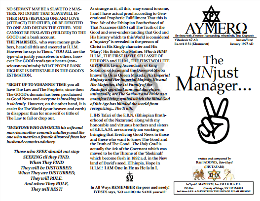 AYMERO | Rastafari Study Tracts #54 | The UNjust Manager...