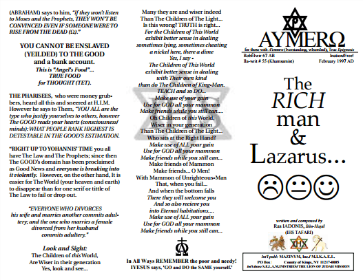 AYMERO | Rastafari Study Tracts #55 | The RICH man & Lazarus...