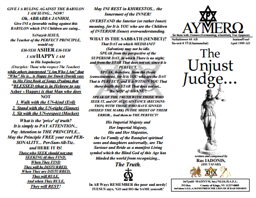 AYMERO | Rastafari Study Tracts #57 | The Unjust Judge...