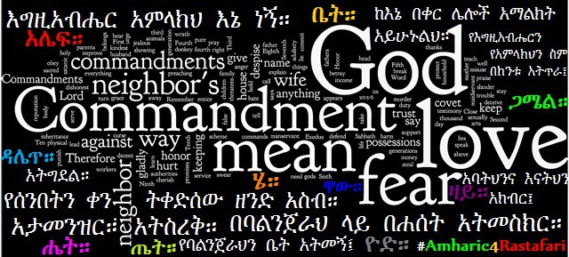 Ten Commandments-Amharic Word Art
