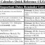 Rastafari Calendar Quick Reference List