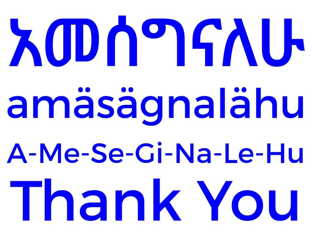 how to say thank you in amharic language