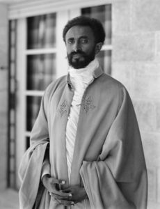 Haile Selassie I in front of a modernist house, Jerusalem