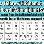 Amharic-Hebrew HaShemot - Abetu, Abet or Lord (Adonai) in HSV & KJV