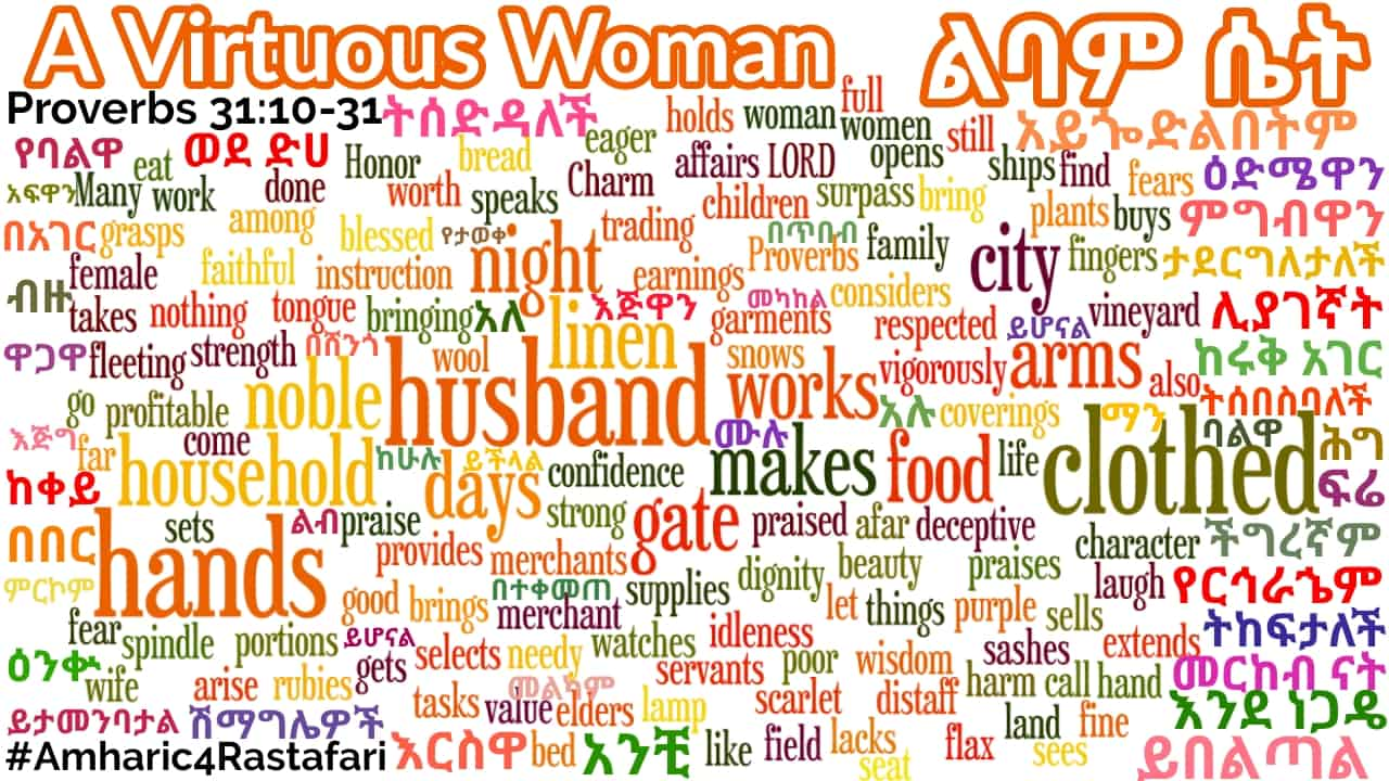 A Virtuous Woman in Amharic - Proverbs 31 WordArt