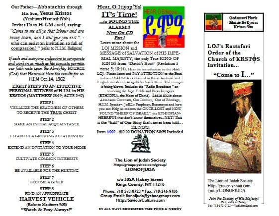 Invitation | Rastafari Order of the Church of KRSTOS